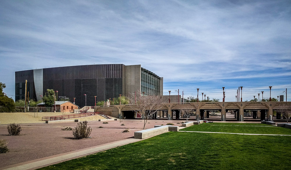 Phoenix Public Library from the park.